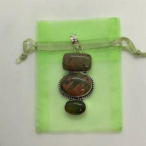 NWOT...925 Sterling silver pendant/ unikite stone
